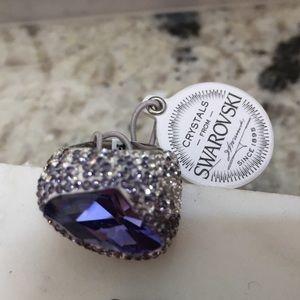 Swarovski purple stone ring with crystals sz 7 NWT